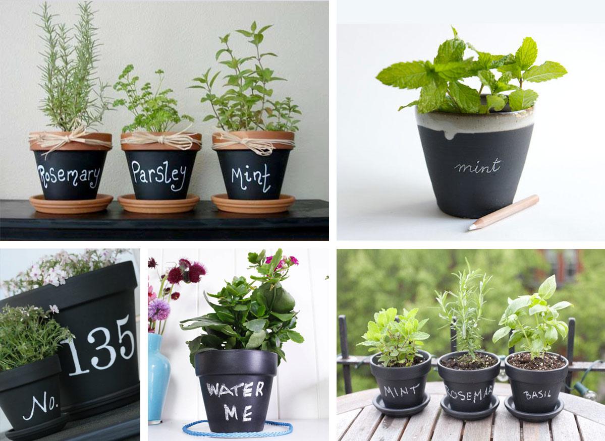 Pittura effetto lavagna vasi per piante aromatiche - Pittura lavagna cucina ...